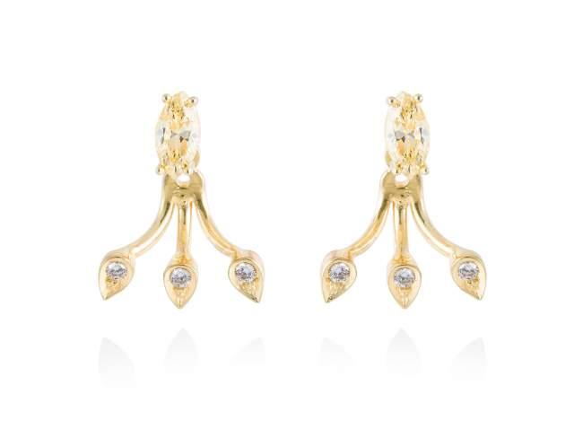 Earrings HIEDRA in golden silver de Marina Garcia Joyas en plata Earrings in 18kt yellow gold plated 925 sterling silver with white cubic zirconia and yellow cubic zirconia. (size: 2 cm.)