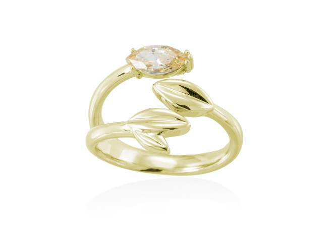Ring LAUREL in silver de Marina Garcia Joyas en plata Ring in 18kt yellow gold plated 925 sterling silver with yellow cubic zirconia.