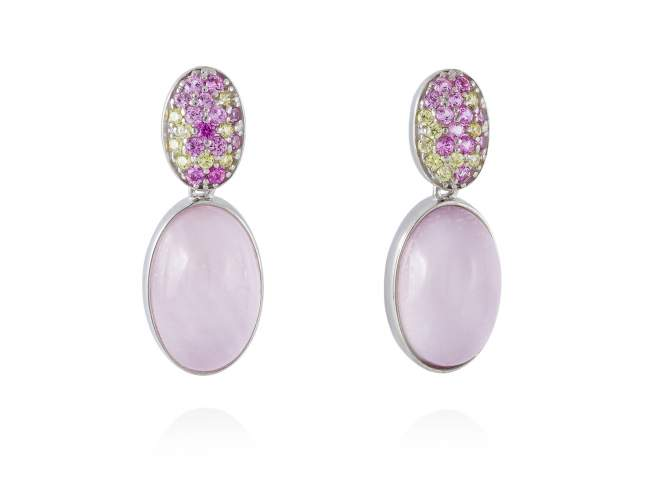 Earrings HIDRA Pink in silver de Marina Garcia Joyas en plata Earrings in rhodium plated 925 sterling silver, multicolor cubic zirconia, pink mother of pearl and milky quartz doublet. (size: 2,5 cm.)
