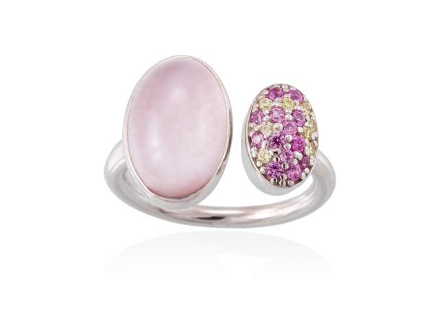 Ring HIDRA Pink in silver de Marina Garcia Joyas en plata Ring in rhodium plated 925 sterling silver, multicolor cubic zirconia, pink mother of pearl and milky quartz doublet.