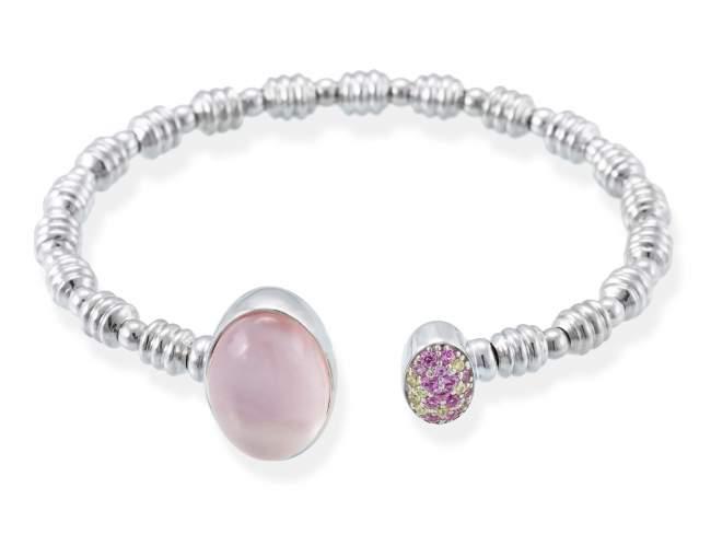 Bracelet HIDRA Pink in silver de Marina Garcia Joyas en plata Bracelet in rhodium plated 925 sterling silver, multicolor cubic zirconia, pink mother of pearl and milky quartz doublet.