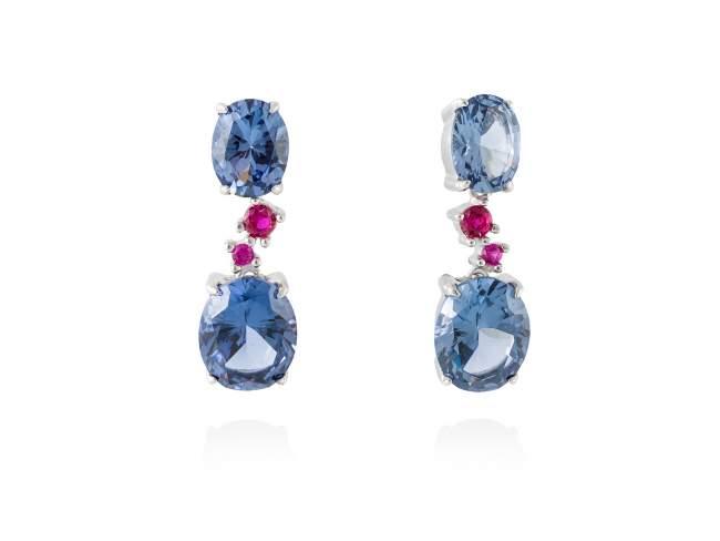 Earrings NIAGARA Blue in silver de Marina Garcia Joyas en plata Earrings in rhodium plated 925 sterling silver, synthetic fuchsia sapphire and synthetic stone in blue color. (size: 2,6 cm.)