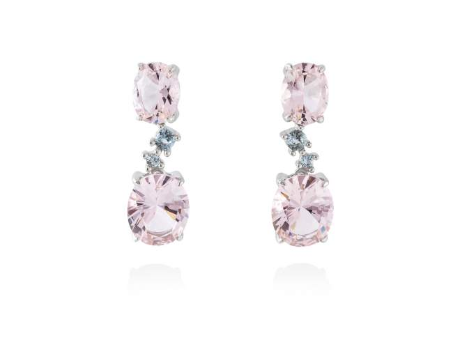 Earrings NIAGARA Pink in silver de Marina Garcia Joyas en plata Earrings in rhodium plated 925 sterling silver, synthetic blue spinel and synthetic stone water pink. (size: 2,6 cm.)