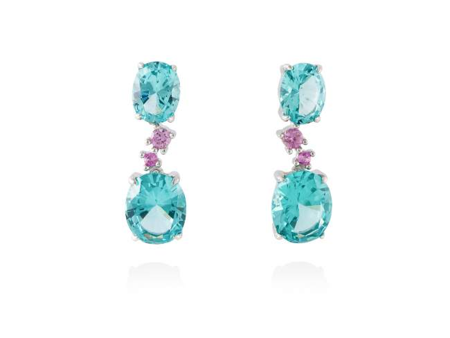 Earrings NIAGARA Paraiba in silver de Marina Garcia Joyas en plata Earrings in rhodium plated 925 sterling silver, synthetic pink sapphire and synthetic stone in paraiba color. (size: 2,6 cm.)