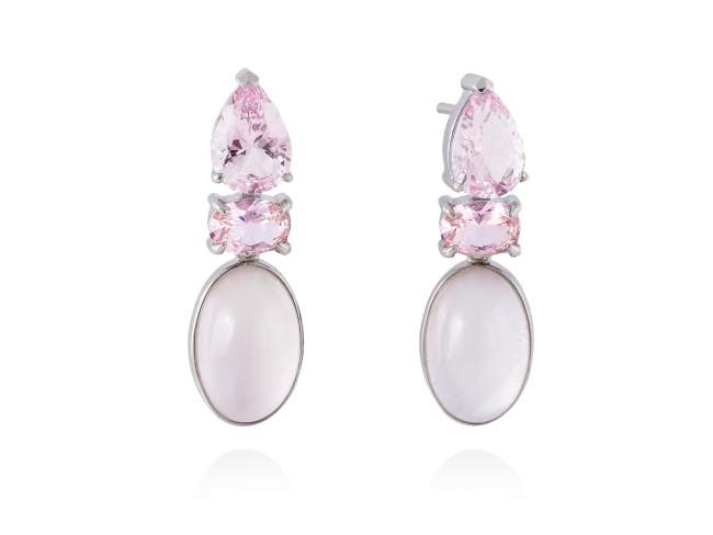 Earrings LAKE Pink in silver de Marina Garcia Joyas en plata Earrings in rhodium plated 925 sterling silver, synthetic stone water pink and pink mother of pearl and milky quartz doublet. (size: 3 cm.)