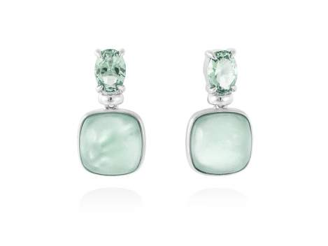 Earrings LAKE Green in silver