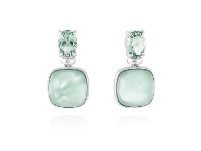 Earrings LAKE Green in silver de Marina Garcia Joyas en plata Earrings in rhodium plated 925 sterling silver, synthetic stone in light green color and mother of pearl, green agate and quartz doublet. (size: 2 cm.)