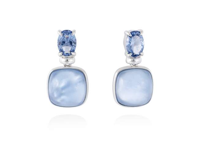 Earrings LAKE Blue in silver de Marina Garcia Joyas en plata Earrings in rhodium plated 925 sterling silver, synthetic stone in blue color and mother of pearl and synthetic blue saphire doublet. (size: 2 cm.)