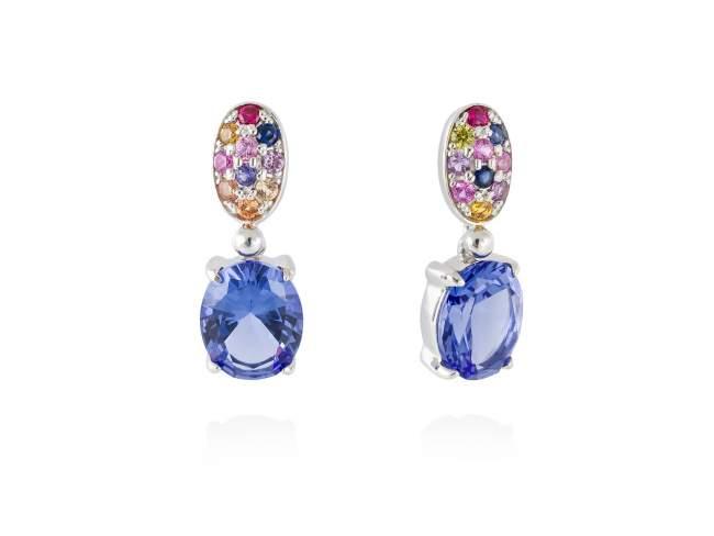 Earrings LIDO Blue in silver de Marina Garcia Joyas en plata Earrings in rhodium plated 925 sterling silver, multicolor cubic zirconia and synthetic stone in blue color. (size: 2,5 cm.)
