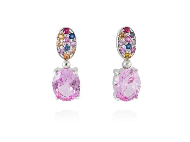 Earrings LIDO Pink in silver de Marina Garcia Joyas en plata Earrings in rhodium plated 925 sterling silver, multicolor cubic zirconia and synthetic pink sapphire. (size: 2,5 cm.)