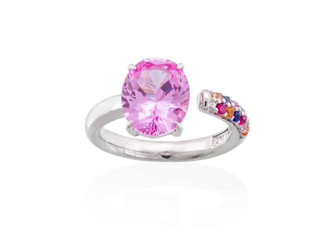 Ring LIDO Pink in silver de Marina Garcia Joyas en plata Ring in rhodium plated 925 sterling silver, multicolor cubic zirconia and synthetic pink sapphire.