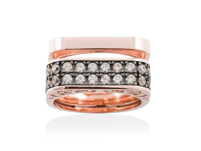 Ring SEVRUGA Cognac in rose silver de Marina Garcia Joyas en plata Ring in 18kt rose gold plated 925 sterling silver with cognac cubic zirconia.