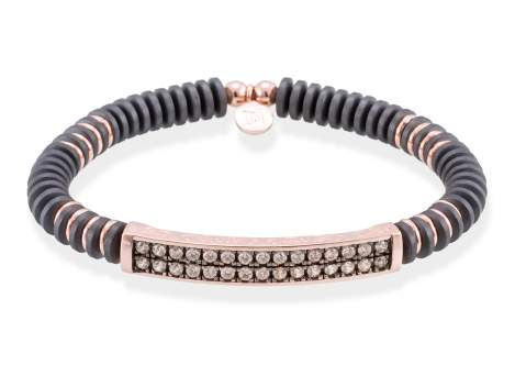 Bracelet BELUGA Cognac in rose silver