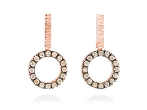 Earrings NACCARI Cognac in rose silver