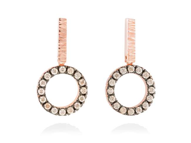 Earrings NACCARI Cognac in rose silver de Marina Garcia Joyas en plata Earrings in 18kt rose gold plated 925 sterling silver with cognac cubic zirconia. (size: 3 cm.)