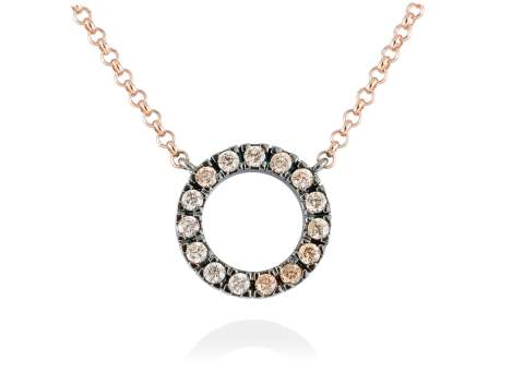Necklace NACCARI Cognac in rose silver