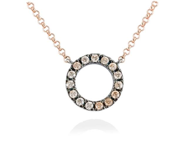 Necklace NACCARI Cognac in rose silver de Marina Garcia Joyas en plata Necklace in 18kt rose gold and ruthenium plated 925 sterling silver with cognac cubic zirconia. (Length of necklace: 42+3 cm. Size of pendant: 1,5 cm.)