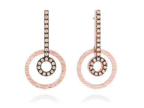 Earrings NACCARI Cognac in rose silver