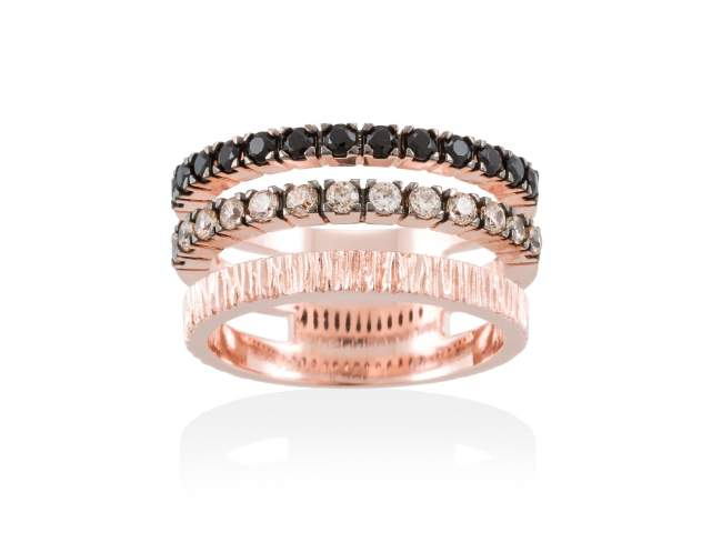 Ring KALUGA Cognac in rose silver de Marina Garcia Joyas en plata Ring in 18kt rose gold plated 925 sterling silver with cognac cubic zirconia and synthetic black spinel.