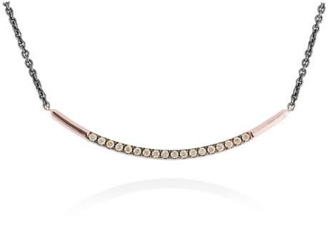 Necklace KALUGA Cognac in rose silver