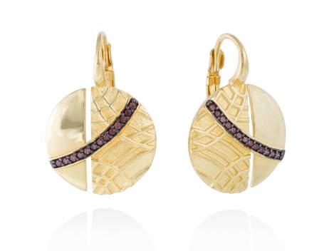 Earrings LINDT Brown in golden silver