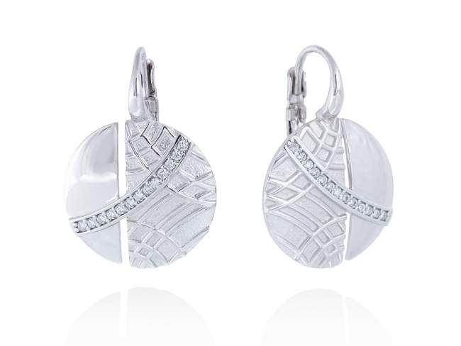 Earrings LINDT White in silver de Marina Garcia Joyas en plata Earrings in rhodium plated 925 sterling silver with white cubic zirconia. (size: 2,8 cm.)