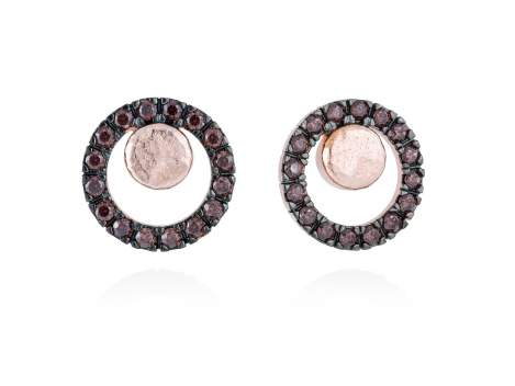 Earrings FOUNDANT Brown in rose silver