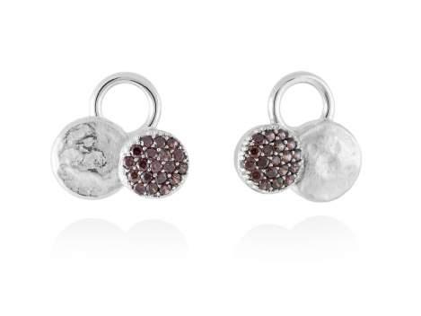 Earrings CIRCLE Brown in silver