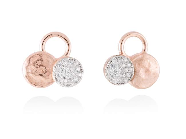 Earrings CIRCLE White in rose silver de Marina Garcia Joyas en plata Earrings in 18kt rose gold plated 925 sterling silver with white cubic zirconia. (size: 1,7 cm.)