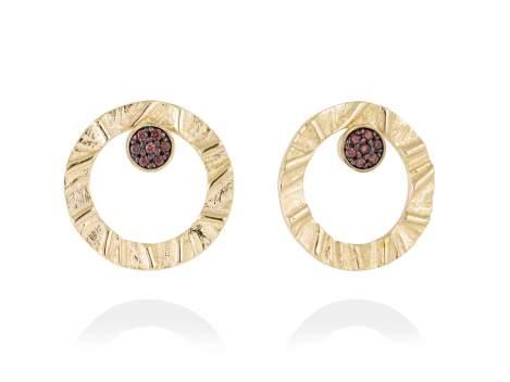 Earrings FOUNDANT Brown in golden silver