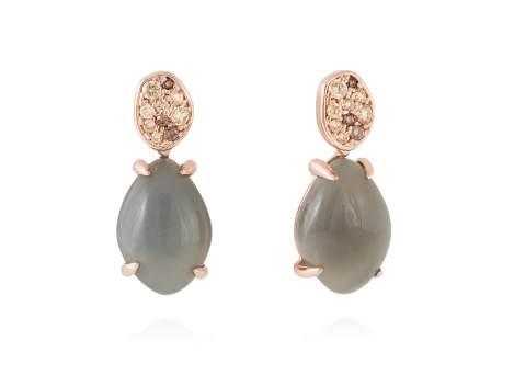 Earrings MINK Grey in rose silver