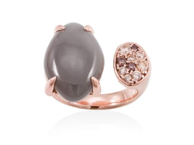 Ring MINK Grey in rose silver de Marina Garcia Joyas en plata