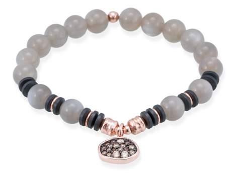 Bracelet MINK Grey in rose silver