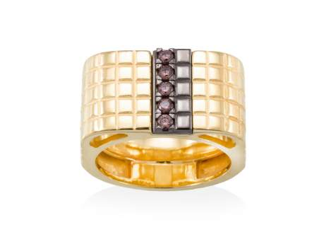 Ring CHOCOLAT Brown in golden silver