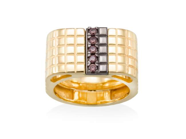 Ring CHOCOLAT Brown in golden silver de Marina Garcia Joyas en plata
