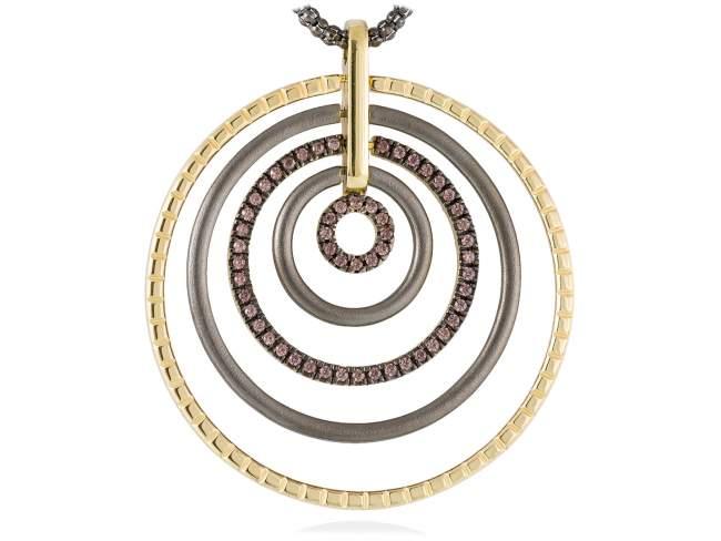 Pendant CHOCOLAT Brown in golden silver de Marina Garcia Joyas en plata