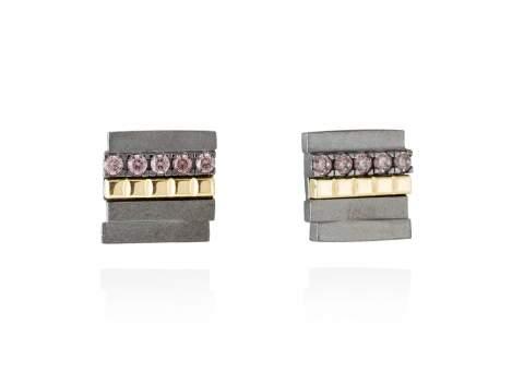 Earrings CHOCOLAT Brown in black silver