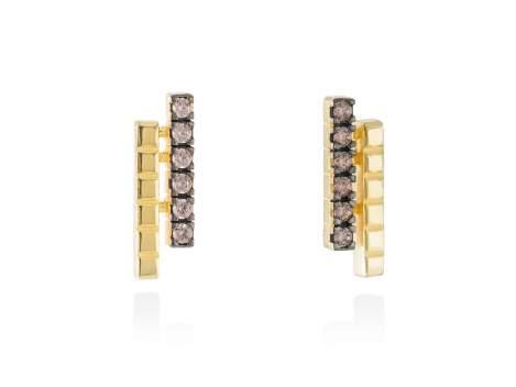 Earrings CHOCOLAT Brown in golden silver