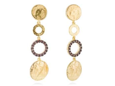 Earrings CIRCLE Brown in golden silver