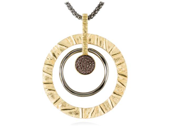 Pendant FOUNDANT Brown in golden silver de Marina Garcia Joyas en plata Pendant in 18kt yellow gold and ruthenium plated 925 sterling silver and brown cubic zirconia. (size: 6,2 cm.)  (Chain is not included)