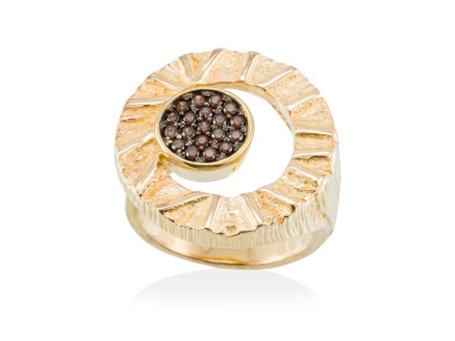 Ring FOUNDANT Brown in golden silver de Marina Garcia Joyas en plata
