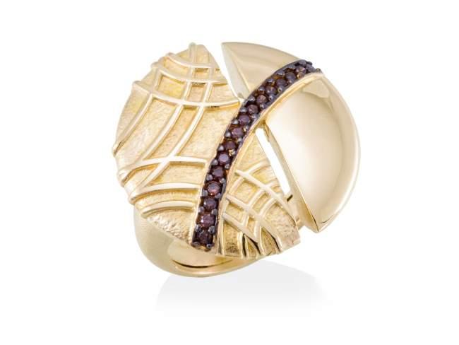 Ring LINDT Brown in golden silver de Marina Garcia Joyas en plata