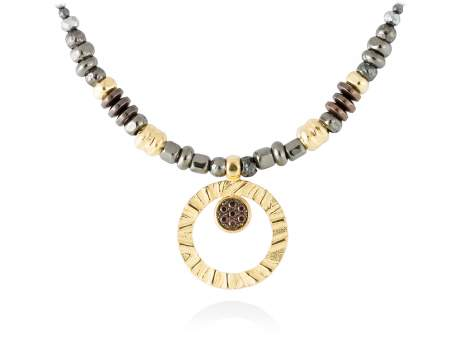 Necklace FOUNDANT Brown in golden silver