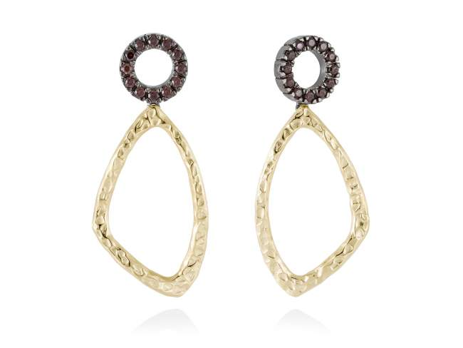 Earrings CIRCLE Brown in golden silver de Marina Garcia Joyas en plata