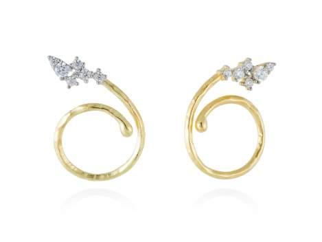 Earrings LIA-T White in golden silver