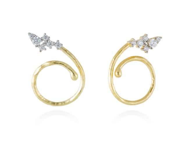 Earrings LIA-T White in golden silver de Marina Garcia Joyas en plata