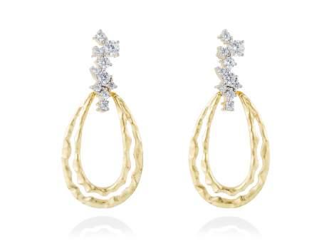 Earrings LIA-M White in golden silver