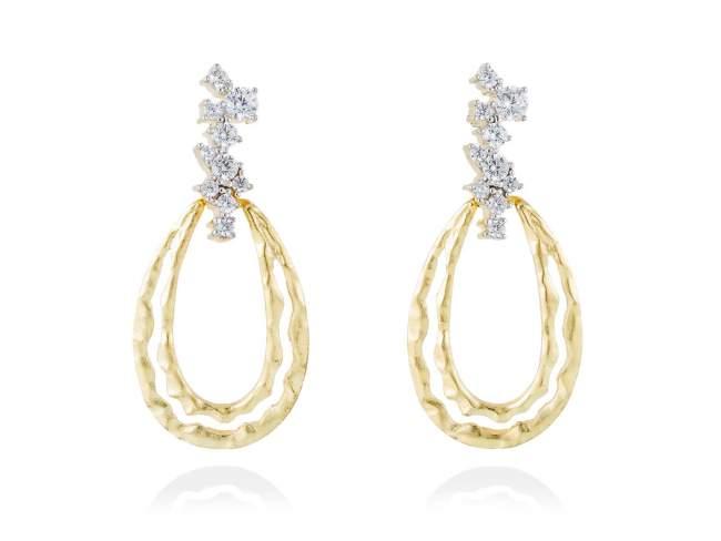 Earrings LIA-M White in golden silver de Marina Garcia Joyas en plata