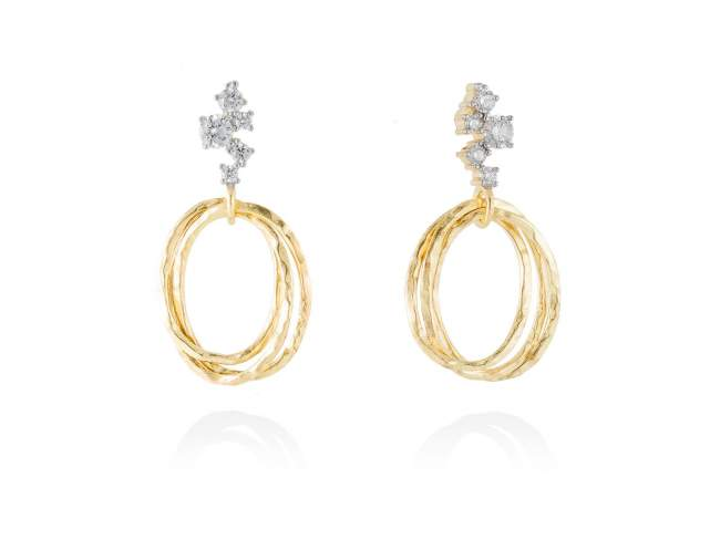 Earrings LIO White in golden silver de Marina Garcia Joyas en plata