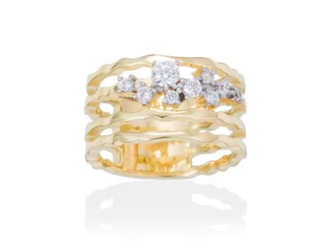 Ring LIA White in golden silver